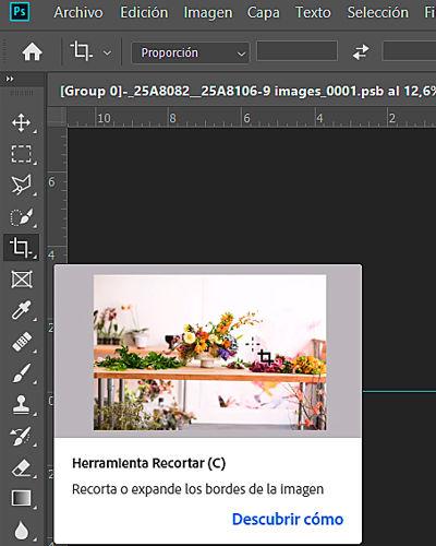herramienta recortar photoshop