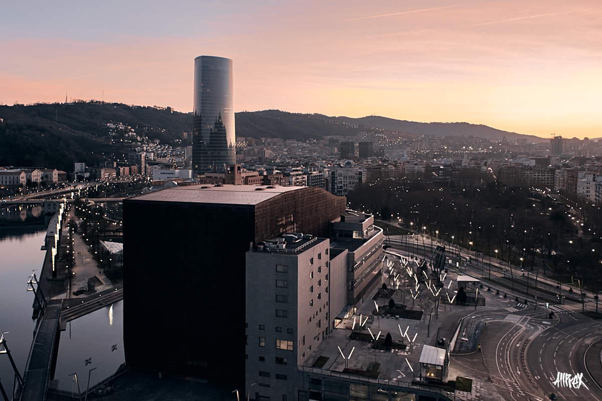 amanecer torre iberdrola bilbao