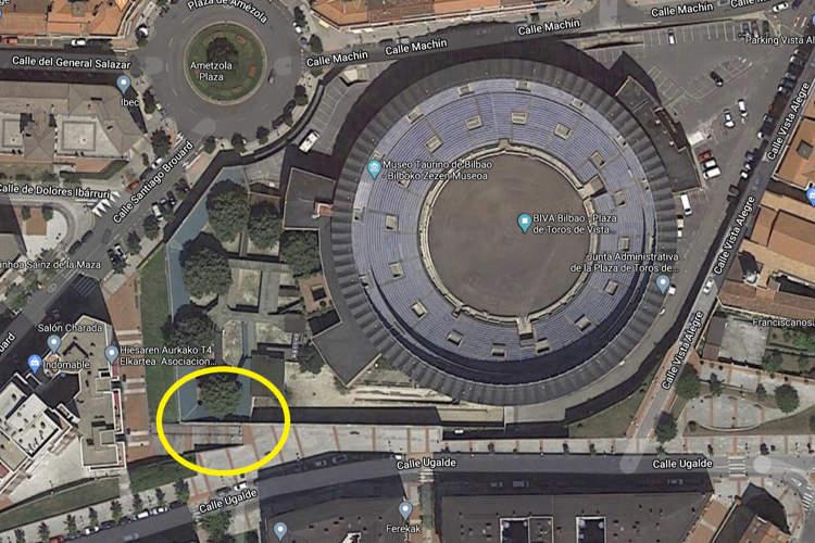 imagen aérea de la plaza de toros de bilbao